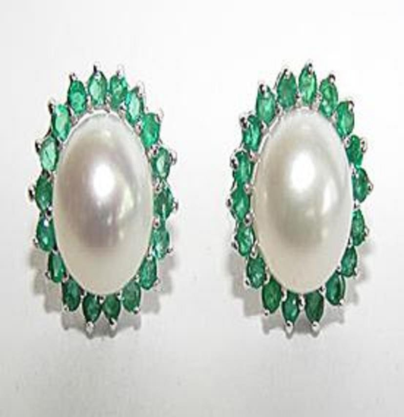 19: Cultured Pearl Emerald Earrings Appraised $4,750