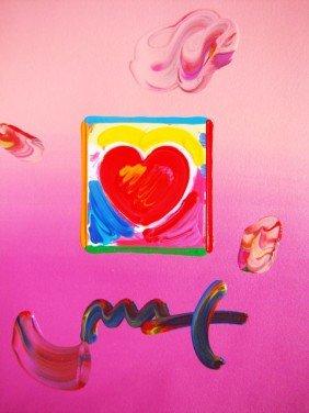 """Peter Max """"Heart"""" Original Mixed Media"""