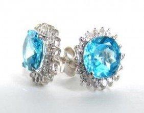 4.23 CT Blue Topaz Diamond Earring Appraised $4150