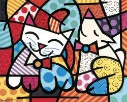 "74: Art Print by Romero Britto ""Happy Cat and Snob Dog"""