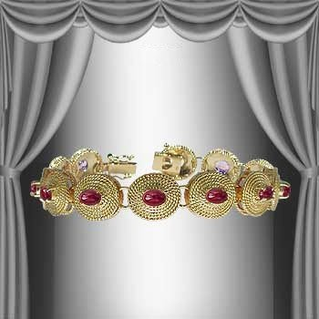 81: Genuine 7 CT Cabochon Ruby Museum Bracelet