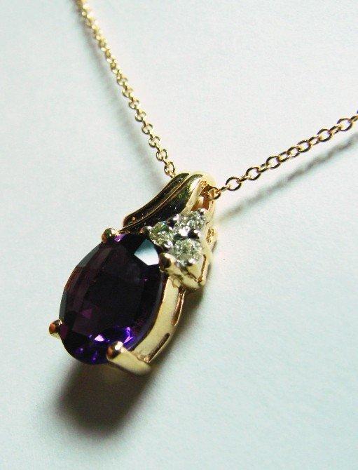 86: 3.40 CT Amethyst Diamond Pendant Appraised $3,500