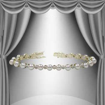 94: 5mm Freshwater Pearl and Diamond Bracelet