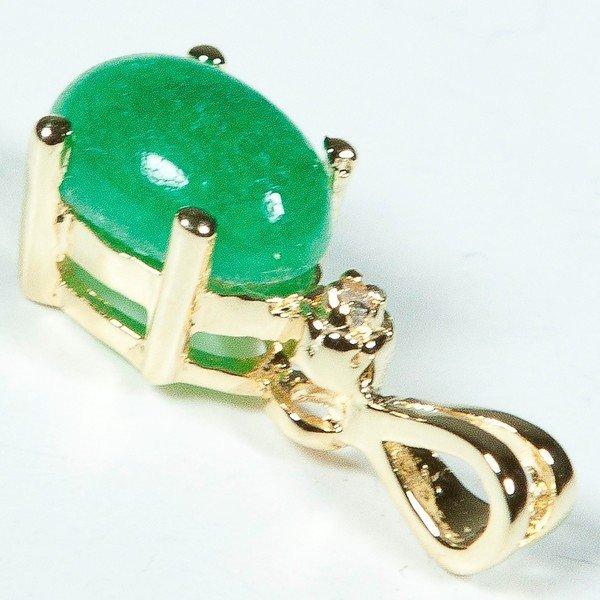 96: Genuine 1 1/2 CT Cabochon Emerald Diamond Pendant