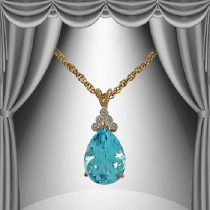 10: Genuine 6 CT Blue Topaz Diamond Pendant