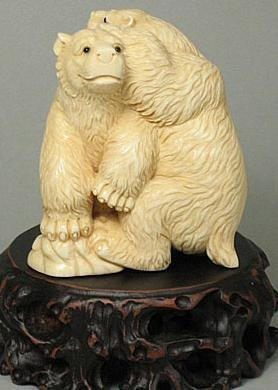 "19: Mammoth Ivory ""2 Playing Polar Bears"" Carving"