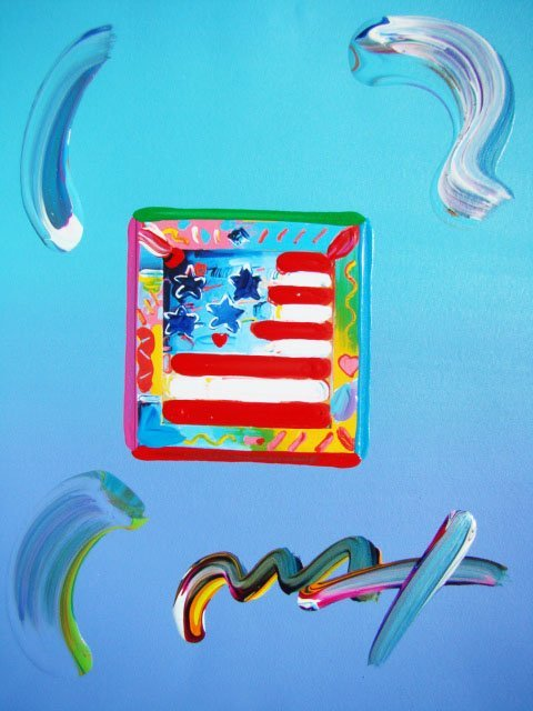 24: Peter Max FLAG WITH HEART Original Mixed Media