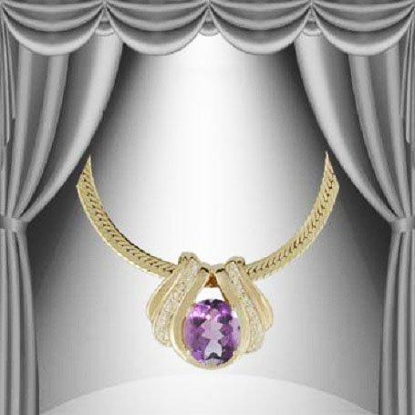 125: Genuine 7 CT Amethyst Diamond Pendant