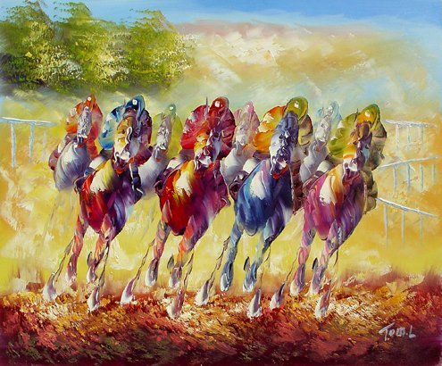 133: Oil Painting on Canvas Horse Race
