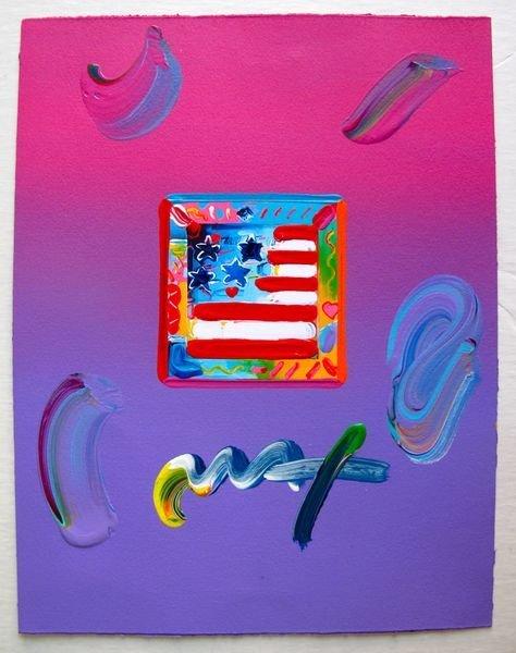 135: Peter Max FLAG WITH HEARTS Original Mixed Media