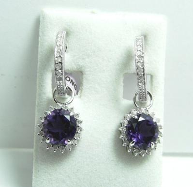136: 2.50 CT Amethyst Diamond Earrings Appraised $3,500