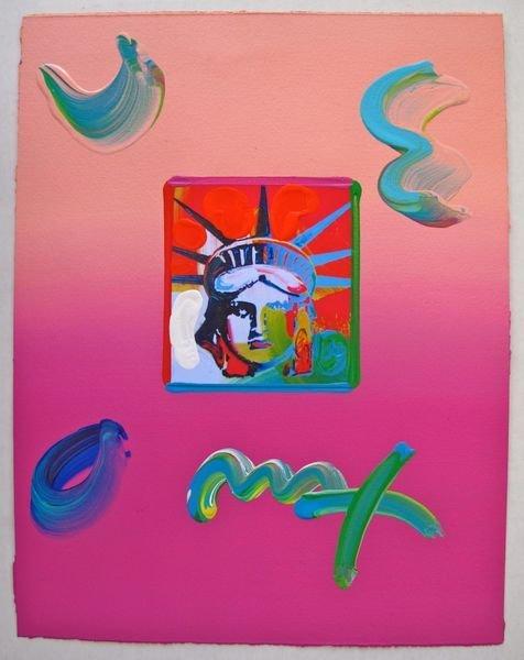 138: Peter Max LIBERTY HEAD Original Mixed Media
