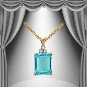 Genuine 4.7 CT Blue Topaz Diamond Pendant