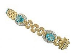 7.7 CT Blue Topaz Diamond 18K Love Chain Bracelet