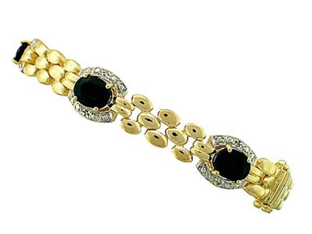 193: 7.7 CT Sapphire Diamond 18K Love Chain Bracelet