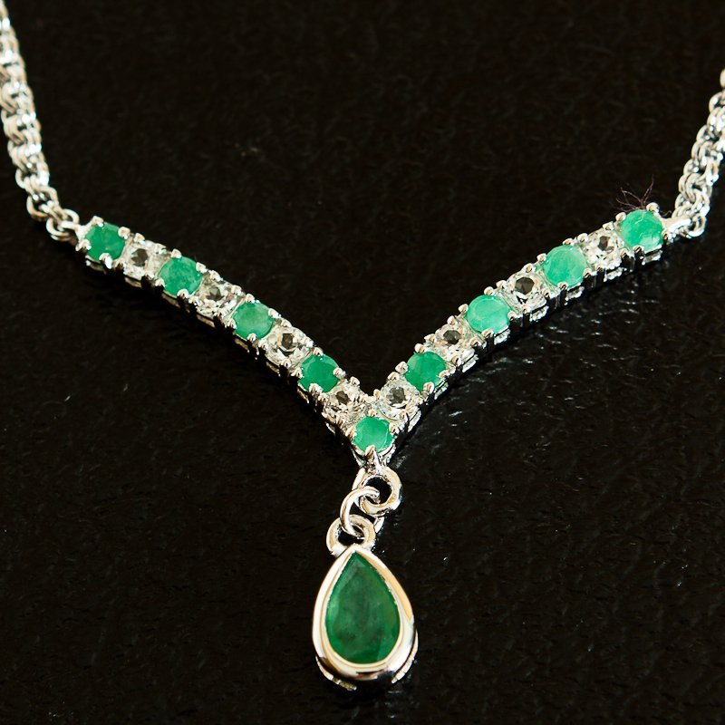 201: 4 CT Emerald and White Sapphire Necklace