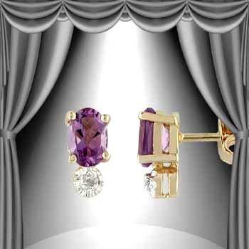 203: Genuine .85 CT Amethyst Diamond Earrings