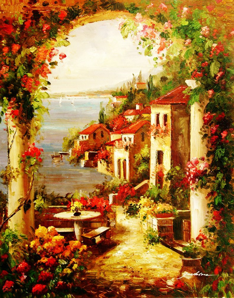 205: Huge Oil Painting on Canvas  - Tuscan Coastline
