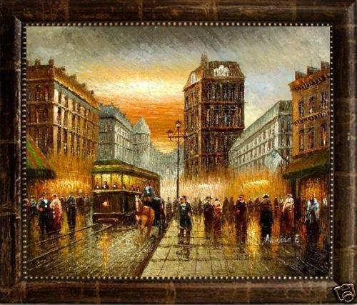 207: Framed Oil Painting on canvas - Boulevardiers