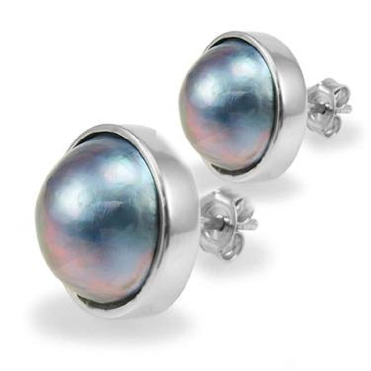 213: Genuine 12mm Grey Mobe Pearl Stud Earrings