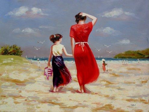 215: Huge Oil Painting on Canvas  - Beach Stroll