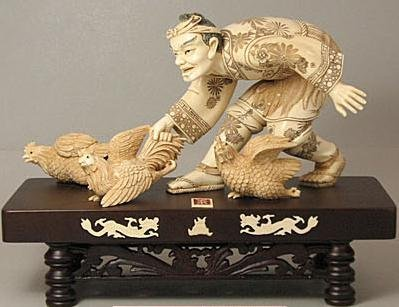 216: Mammoth Ivory Japanese Farmer With 3 Roosters Carv
