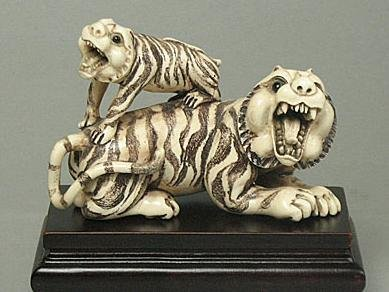 "282: Mammoth Ivory ""2 Zodiac Tigers - Mother & Baby"" Ca"