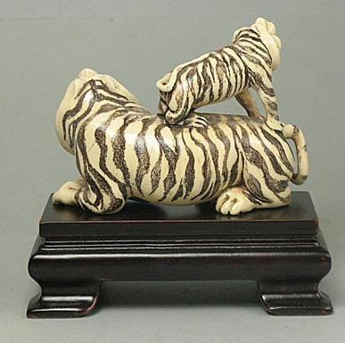 "282: Mammoth Ivory ""2 Zodiac Tigers - Mother & Baby"" Ca - 2"