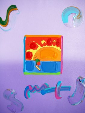 1: Peter Max SAILBOAT Original Mixed Media