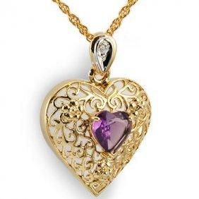 5: Genuine 1 CT Amethyst Diamond Heart Pendant