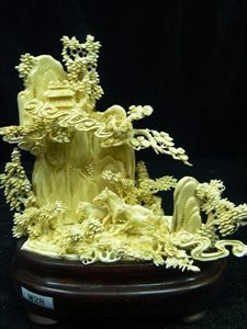9: Rare Hand Carved Ivory Three Horses Mountain