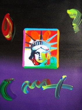"""Peter Max """"Liberty Head"""" Original Mixed Media"""