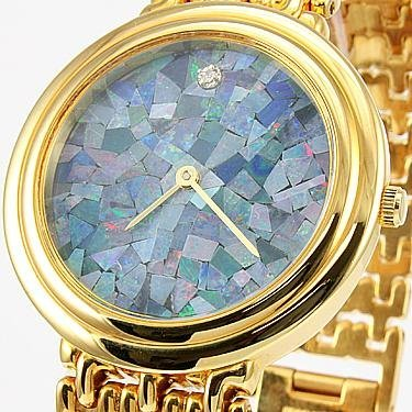 17: Genuine Opal Face with Diamond Gold Watch