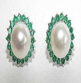 19: Cultured Pearl Emerald Earrings Appraised $4,750