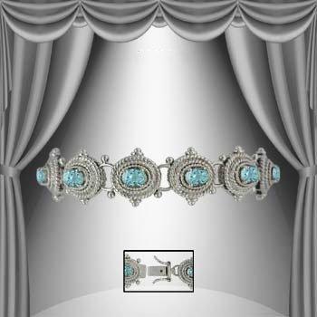 22: Genuine 7 CT Blue Topaz Silver Antiqued Bracelet
