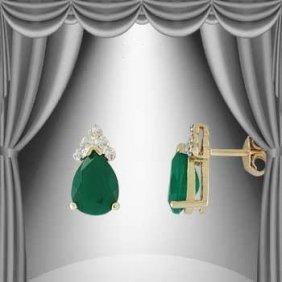 Genuine 3 CT Emerald Diamond Teardrop Earrings