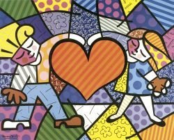 "Art Print By Romero Britto ""Heart Kids"""
