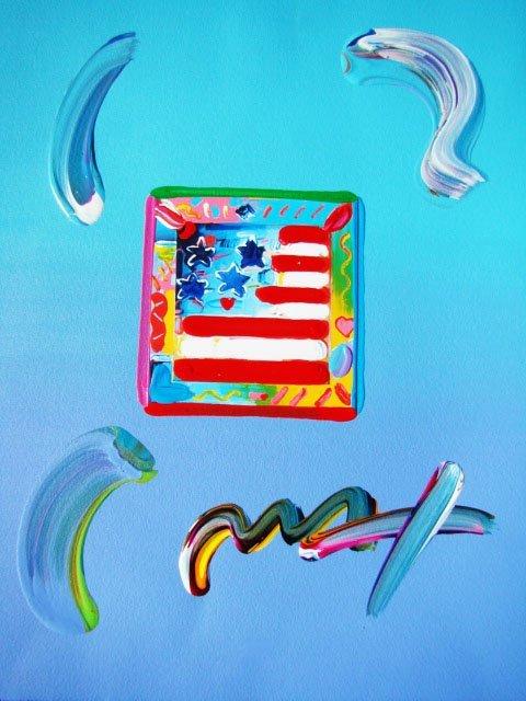 "73: Peter Max ""Flag with Heart"" Original Mixed Media"