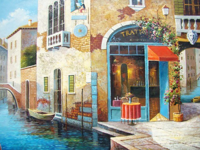 """78: 100% Hand-Painted Oil Painting """"Café by the Canals"""""""