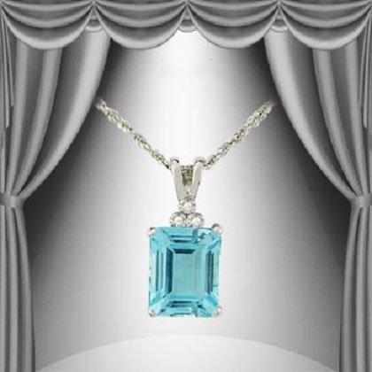 94: Genuine 4.7 CT Blue Topaz DiamondSilver Pendant