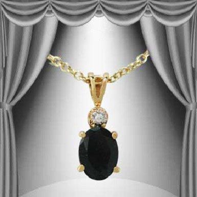 96: Genuine 1 Sapphire Diamond Solitaire Pendant