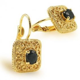 Genuine 1 CT Sapphire Leverback Earrings