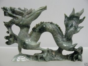 HAND CARVED NATURAL JADE DRAGON