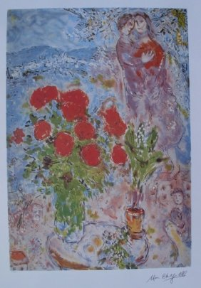 Marc Chagall RED BOUQUET WITH LOVERS Ltd Ed. Litho