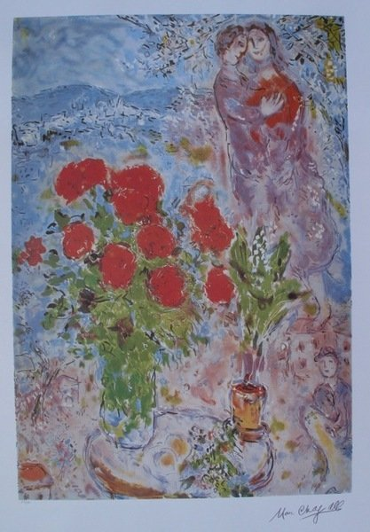145: Marc Chagall RED BOUQUET WITH LOVERS Ltd Ed. Litho