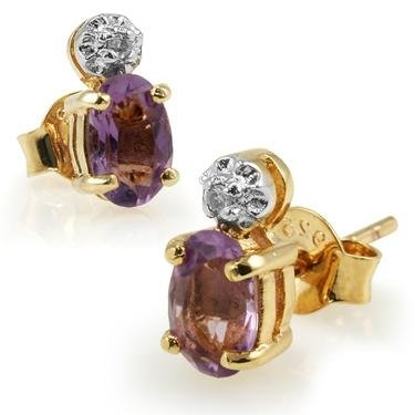 147: Genuine .85 CT Amethyst Diamond Earrings