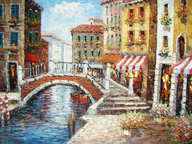 "161: Large Handmade Oil Painting ""Little Bridge Cafe"""
