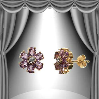 163: Genuine 3 CT Amethyst Diamond Flower Earrings
