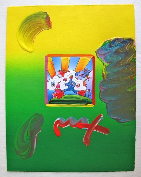 167: Peter Max COSMIC RUNNER Original Mixed Media
