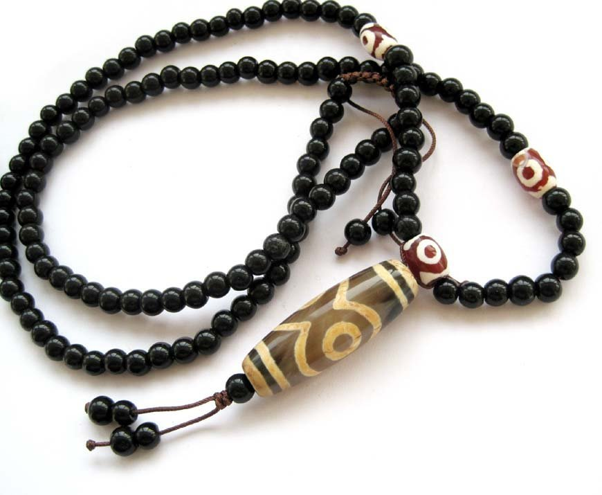 168: Infinity Drum Bead Tibetan Mala Prayer Necklace
